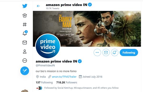 The Family Man 2 marketing strategy- Twitter bio